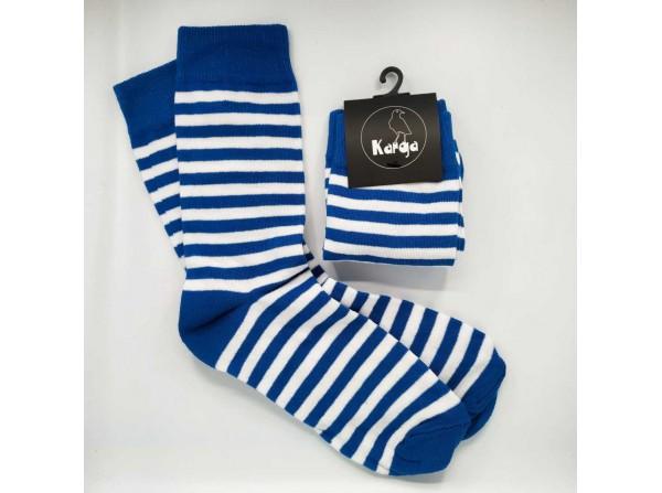 Mavi Beyaz Çizgili Unisex Çorap