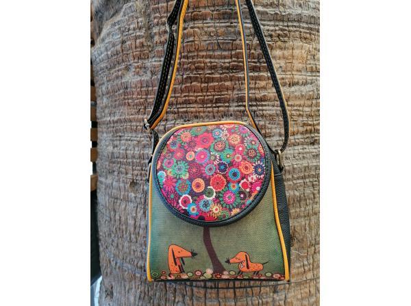 Bohem Omuz Çiçek Desenli yeşil Çanta