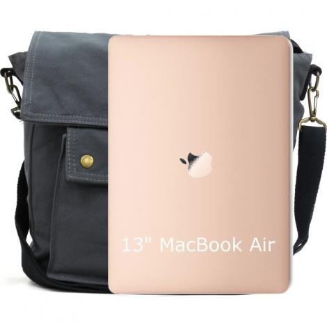 Old Cotton Cargo 7170 Branco Omuz Tablet Evrak Postacı Laptop Notebook Çantası Füme