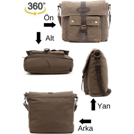 Old Cotton Cargo 7170 Branco Omuz Tablet Evrak Postacı Laptop Notebook Çantası KAHVE